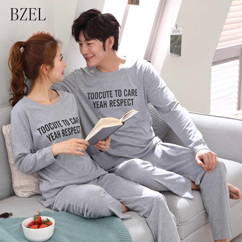 750bd869b3 BZEL Couple Pajama Sets Cotton Pijamas Letter Sleepwear His-and-her Home  Suit Pyjama