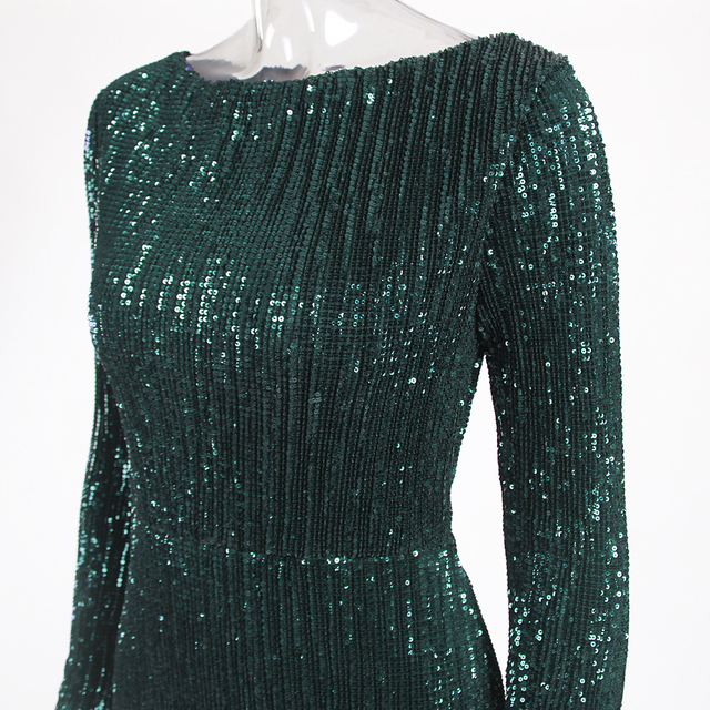 Green Sequined O Neck Evening Party Dress Maxi Dresses Elegant Sequin Floor Length Dress Gown 4