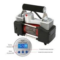 Цифровой давление предустановка В 12 в воздушный компрессор автомобильный шиномонтажный двойной цилиндр металлический 150PSI автомобильный в