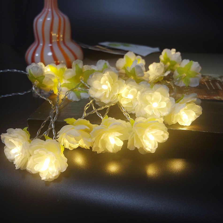 Handmade cream flower LED String Lights, AA Battery floral holiday lighting, Vase flower arrangement,Party garland decoration