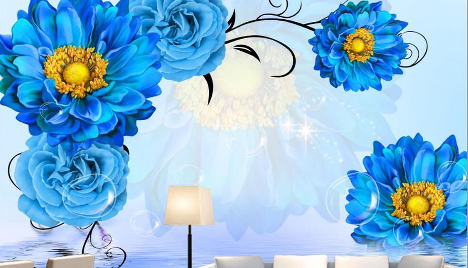 blau rose hintergrund-kaufen billigblau rose hintergrund partien ... - Wohnzimmer Tapete Blau