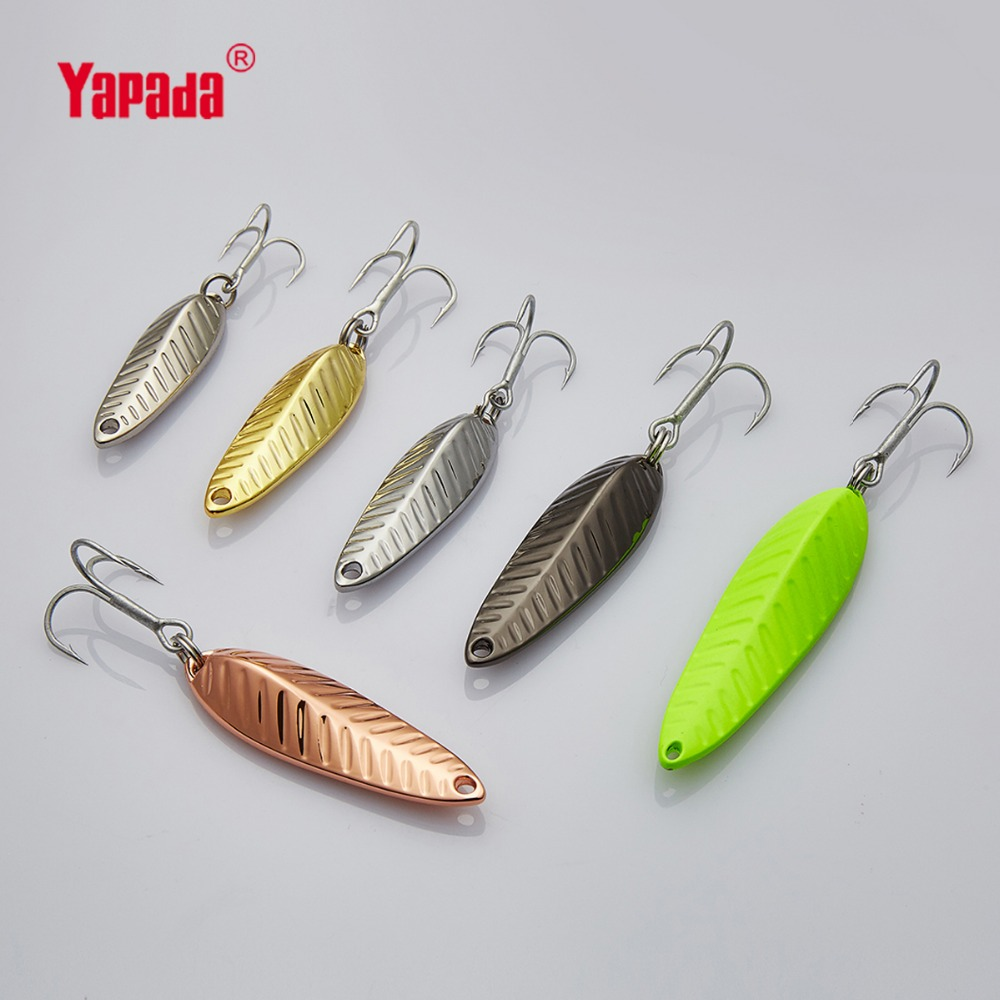 YAPADA Spoon 009 Fly Leaf 5g/7g/10g/15g Multicolor 34mm/39mm/45mm/57mm Treble HOOK Metal Spoon Fishing Lures 10pcs 21g 14g 10g 7g 5g metal fishing lure fishing spoon silver and gold colors free shipping