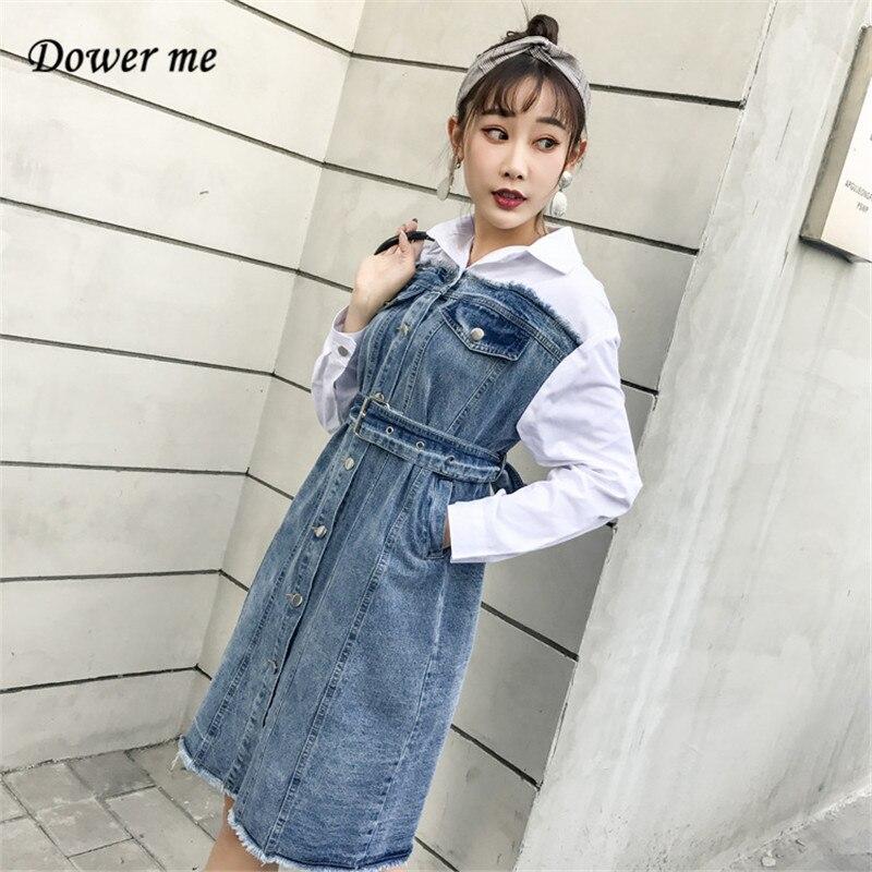 Для женщин Модный пэчворк джинсовая рубашка платье vestidos женский тонкий платье трапециевидной формы дамы поддельные из двух частей Платья д...
