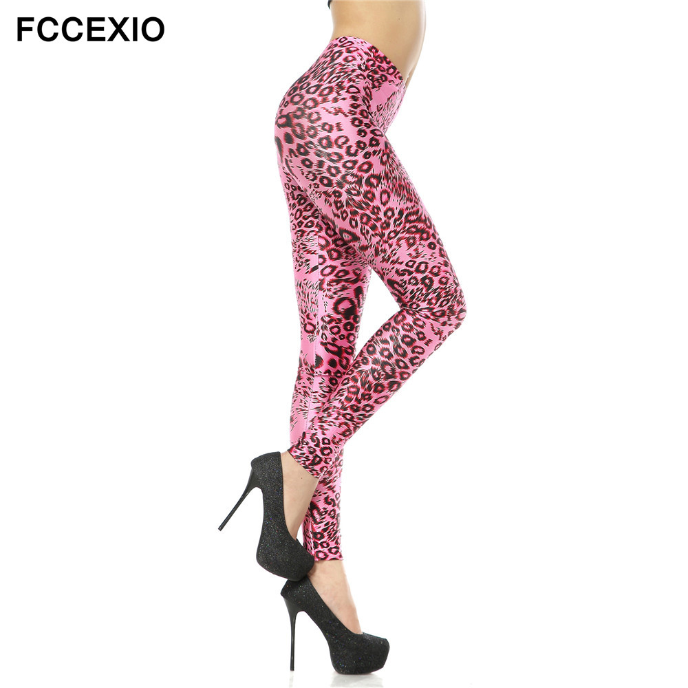FCCEXIO New Girl's Sexy Cute Pink Leopard Leggings 3d Printed Legging Women's Fashion Leggings Fitness Pants Stretch Jeggings
