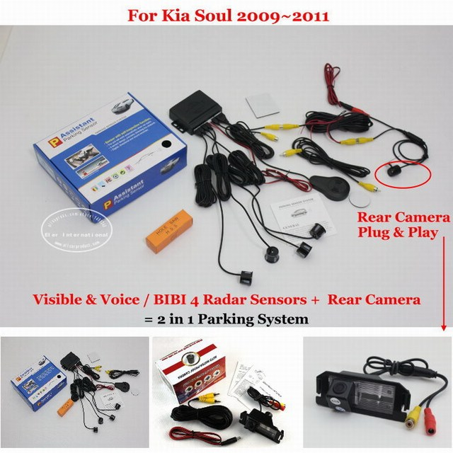Car Parking Sensors + Rear View Camera = 2 in 1 Visual / BIBI Alarm Parking System For Kia Soul 2009~2011