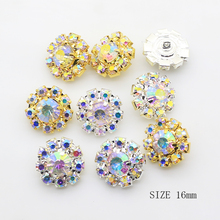 ZMASEY AB Color Buttons10Pcs Lot 16mm Diamond DIY Shank Sewing Button For Clothing Supply Decoration Jewelry Accessories cheap Metal Brass 2-Holes Button Rhinestones Plating 2047 ROUND