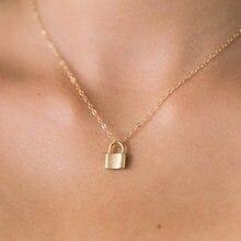 Wtltc simples pequeno bloqueio pingente gargantilhas colares para as mulheres pendurado pouco cadeado colar encantos dainty gargantilha jóias mínimas