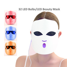 Photon Facial LED Mask Therapy 3 colors Light Skin Care Rejuvenation Wrinkle Reduction Acne Removal led Beauty lamps sleep mask