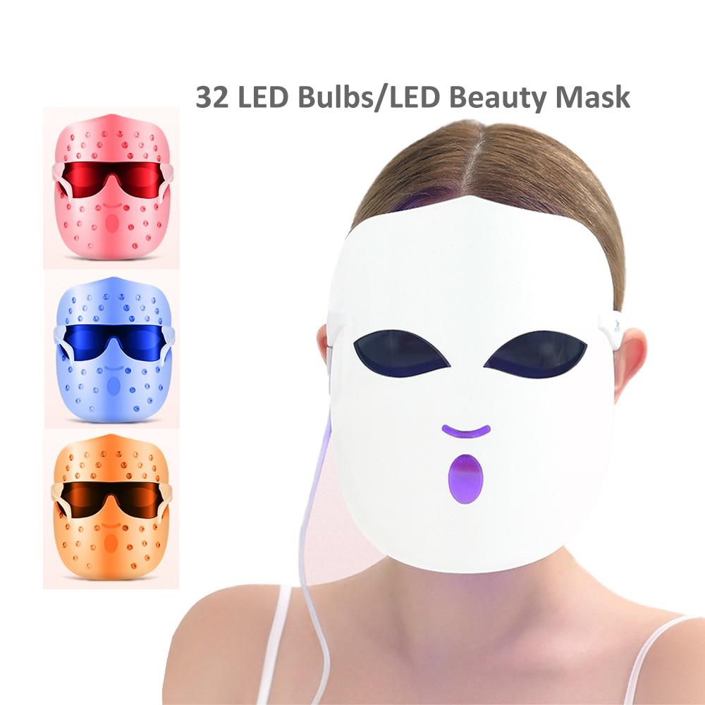 Photon thérapie de masque LED du visage 3 couleurs lumière soins de la peau rajeunissement réduction des rides élimination de l'acné LED lampes de beauté masque de sommeil