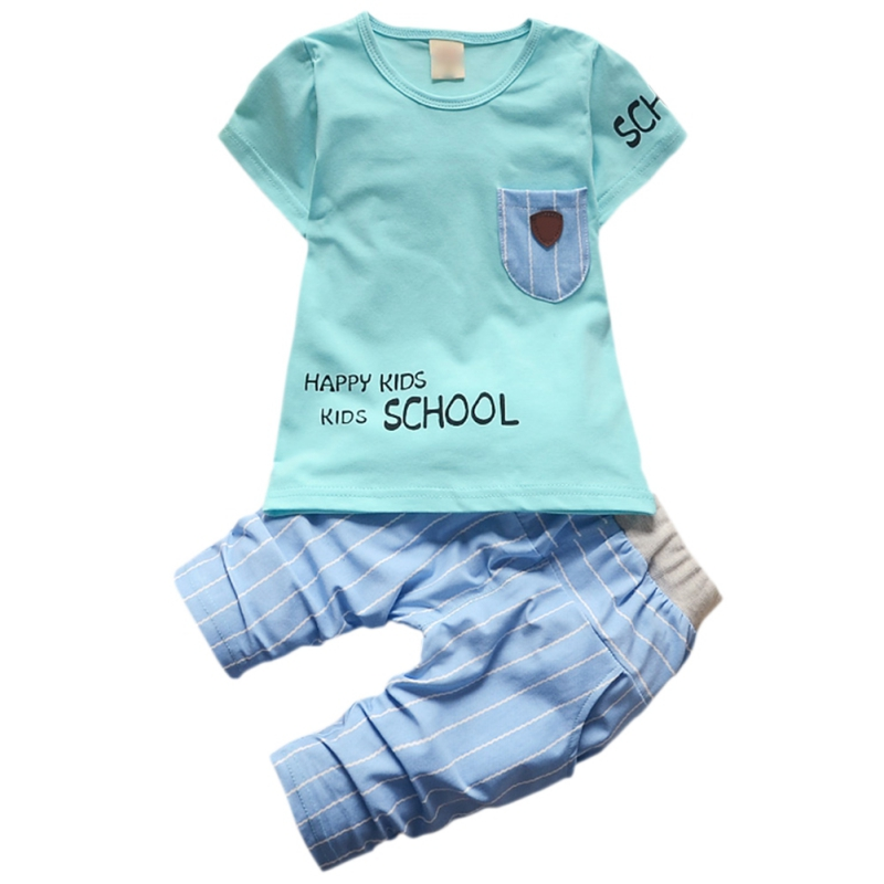 New Baby Boy Clothes Sets Kids Letter Short Sleeve T-Shirt + Toddler Suits Shorts 2 PCS/ ...