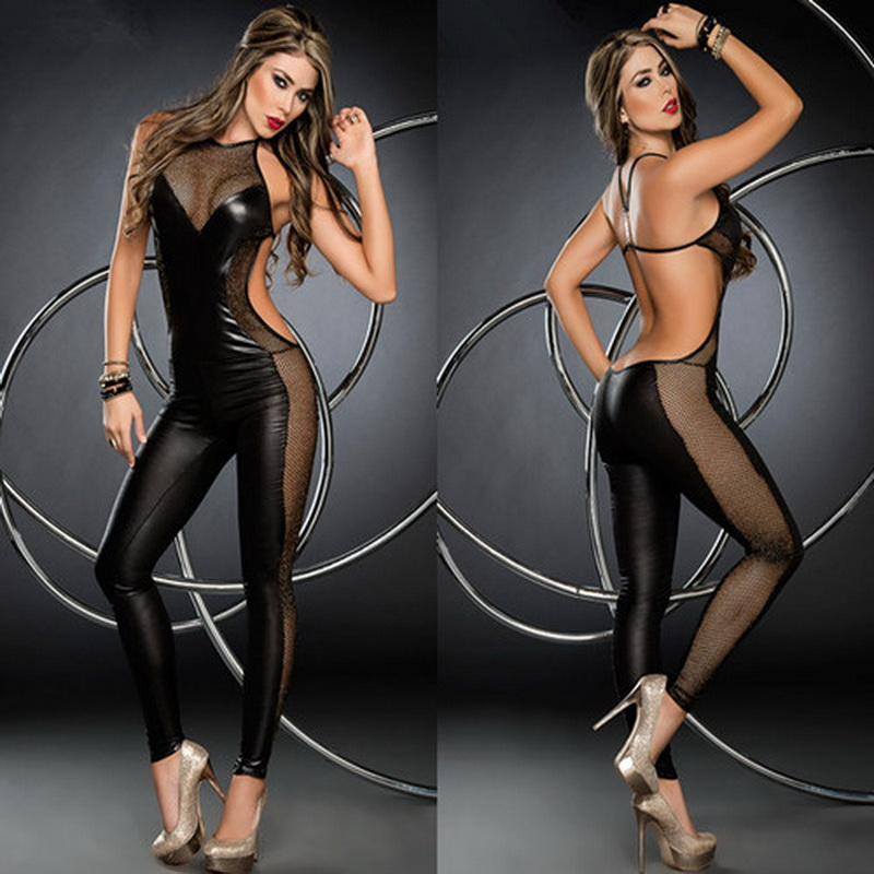 Buy 2017 Sexy Black Faux Leather Catsuit Women Clubwear Sexy Lingerie Stretch mesh Bodysuit Jumpsuits Wetlook Leotard Costume