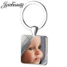 Joinbeauty chaveiro personalizado foto de seu bebê mãe criança avô pai para presente da família quadrado chaveiro na01