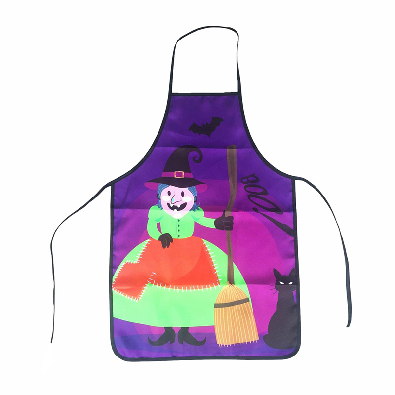 US $5 5 30% OFF|Halloween Aprons Black Cat Witch Skull Pumpkin Printing  Adult Kitchen Apron Dinner Festival Party Cooking Apron Cuisine Children-in
