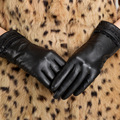 Free Shipping Kursheuel Brand Fashion Lace Women Sheepskin Gloves Leather Gloves Autumn and Winter Warm Gloves Women Gloves