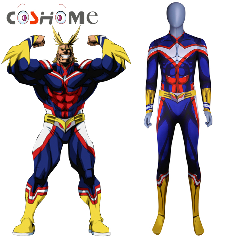 Coshome Boku No My Hero Academia All Might Wigs Cosplay Costume Zentai Lycra Spandex Blue Men Women Bodysuit Jumpsuit