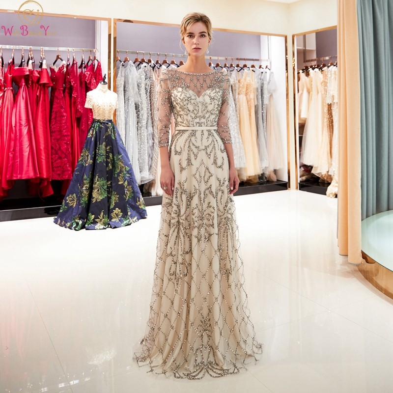 Champagne Mermaid   Evening     Dresses   Elegant O Neck Three Quarter Sleeves robe de soiree Beaded Long Gowns Formal Party   Dress   2019