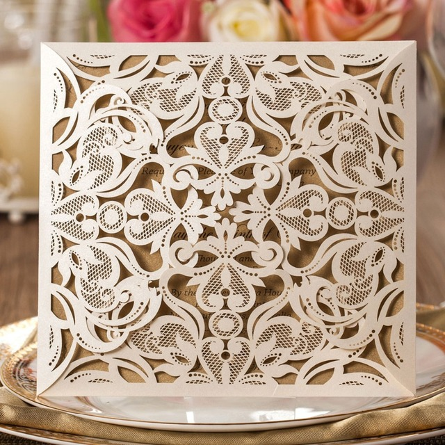 50pcs laser cut wedding invitations cards kit square lace engagement for marriage anniversary paper cardstock cw519_wh - Invitation Card Stock