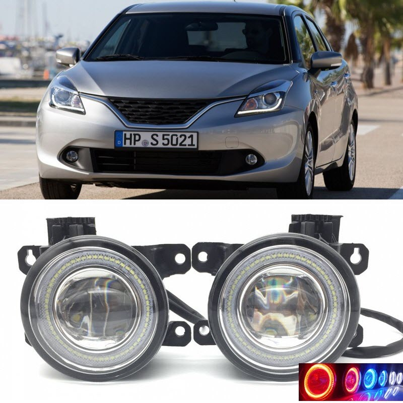2 in 1 LED Angel Eyes DRL 3 Colors Daytime Running Lights Cut-Line Lens Fog Lamp for Suzuki Baleno 2016 2017 car styling 2 in 1 led angel eyes drl daytime running lights cut line lens fog lamp for land rover freelander lr2 2007 2014
