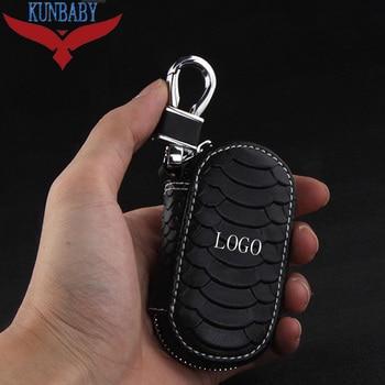 KUNBABY 10pcs/lot Top Cow Leather Car Key Case Cover Key Holder Key Wallet for BMW Audi Benz KIA Jaguar Skoda Toyota Porsche MG