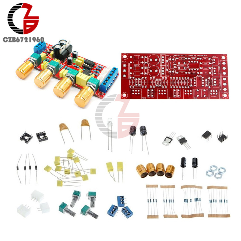 DIY Kits NE5532 Preamp Pre-amplifier Tone Board Treble Alto Bass Volume Control nickel har blue opals stone electric guitar bass volume tone control knob 3pcs