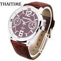 THAITIME TM dos homens Design de Moda de Luxo Rodada Big Relógios dos Esportes Dos Homens de Couro de Pulso de Quartzo Relógios, A-1041