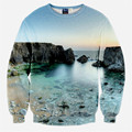 Nueva primavera 2016 hombres / mujeres creativo 3D sudaderas montaña mar cielo posters sudaderas de cuello redondo suéteres de manga larga ropa Casual