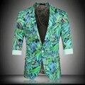 Blazers Mens Blazers verde Padrão Social Prom Ternos Magros Blazers Blazers Mens Colete de Verão Masculino Veste Homme Couleur