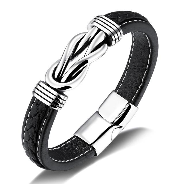 Unique Knot Shape Genuine Leather Men Bracelets White Stitch Line Design Magnet Buckle Male Wrap Party Gift PH1151