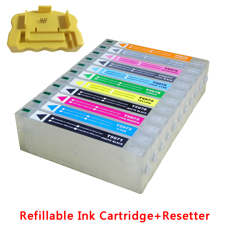 For Epson 7910 9910 large format printer refillable ink cartridges 700ML T6371 +chip resetter 5 pcs with chip and resetter refillable 7700 9700 ink cartridge for epson 7700 9700 large format printer