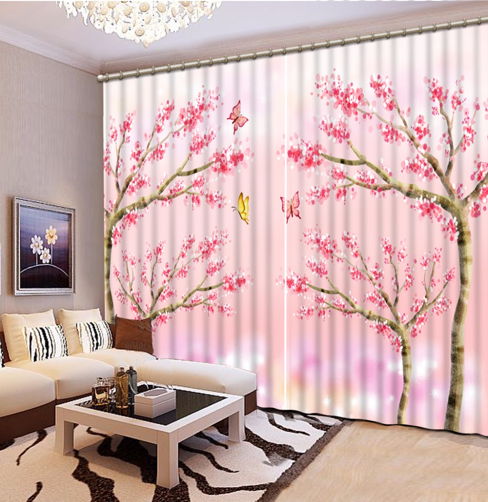 Custom any size Blackout Shade Window Curtains Pink Flowers Butterflies Curtain Decoration Window Curtain Living Room