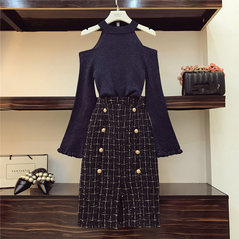 Chic Tweed Skirt 2 Piece Set Women Fall Winter Ins Fashion Sexy Bare Shoulders Knit Sweater + Button Plaid Split Tweed Skirt Set