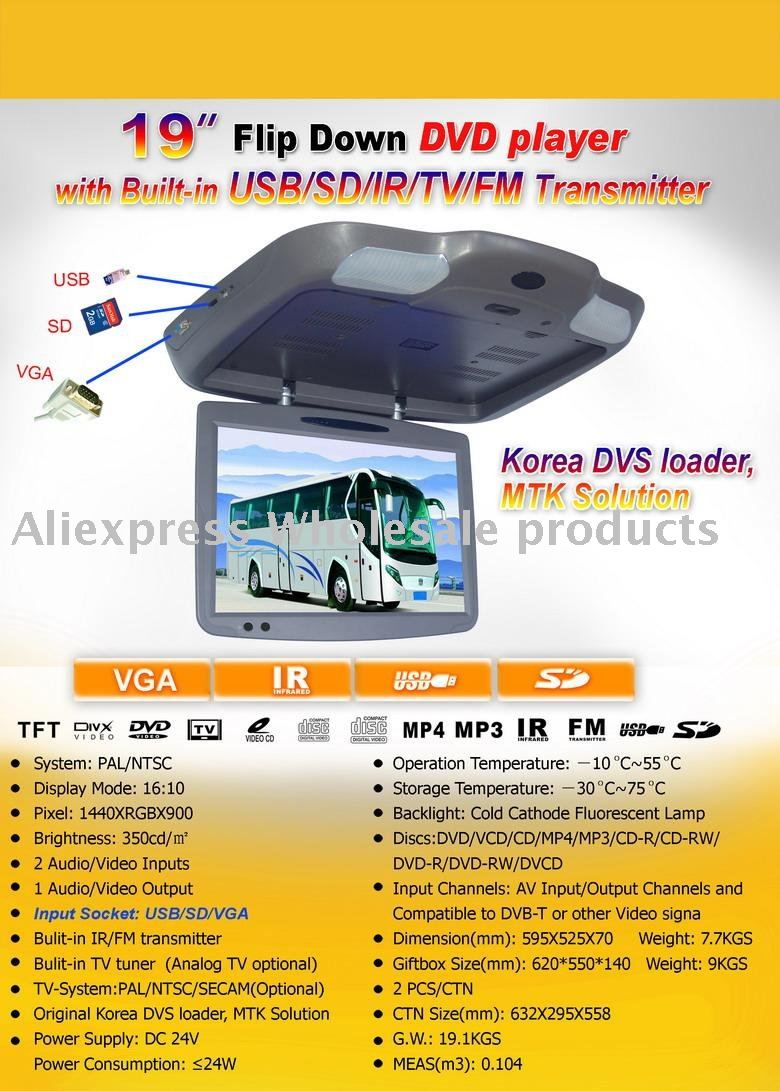 ROOF Mount monitor for BUS with car DVD player+TV+VGA+USB+FREE SHIPPING-in Car Monitors from Automobiles u0026 Motorcycles on Aliexpress.com | Alibaba Group  sc 1 st  AliExpress.com & ROOF Mount monitor for BUS with car DVD player+TV+VGA+USB+FREE ...