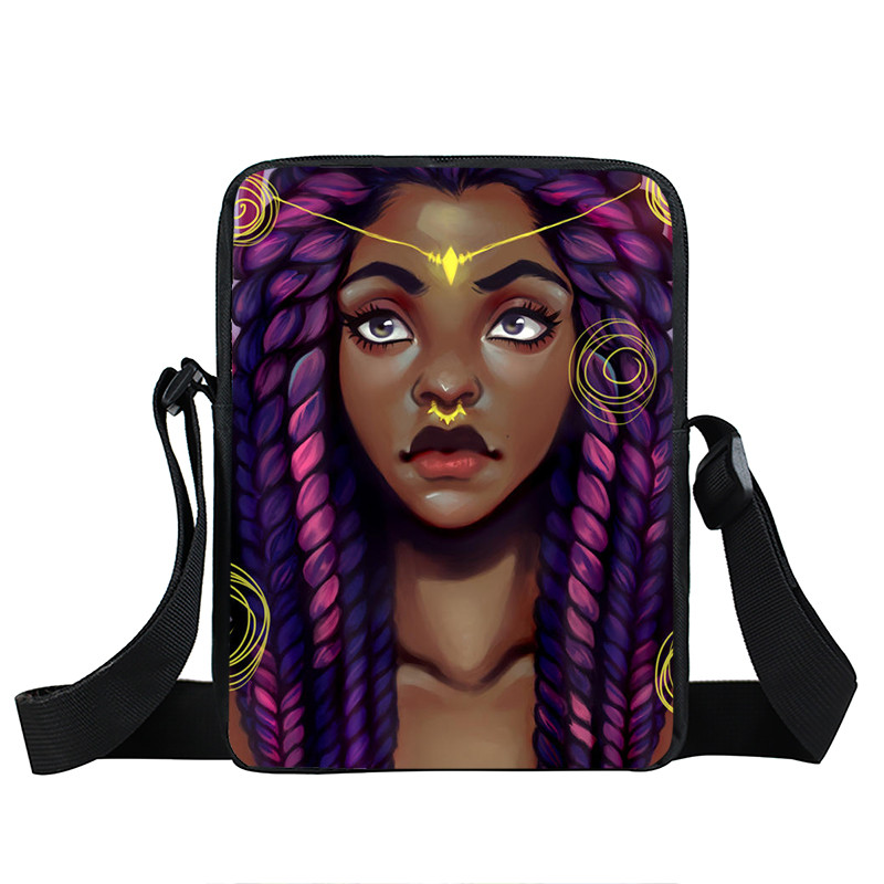 Afro Lady Girl messenger bag Africa Beauty Princess small shoulder bag brown women handbag mini totes teenager crossbody bags 13