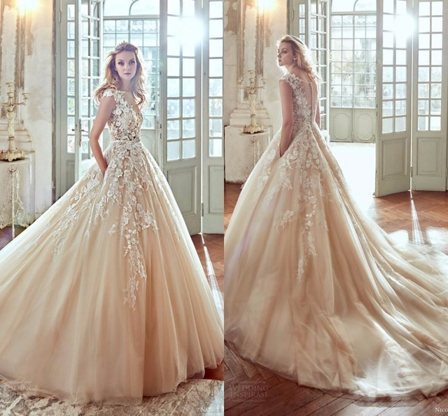 2017 Blush Vestios De Novia 3D Floral A line Wedding Dresses Lace ...