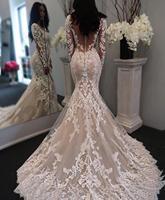 Muslim Wedding Dresses Mermaid Long Sleeves Wedding Dress Gothic Champagne Illusion Lace Sheer Back Appliques Boho Wedding Dress