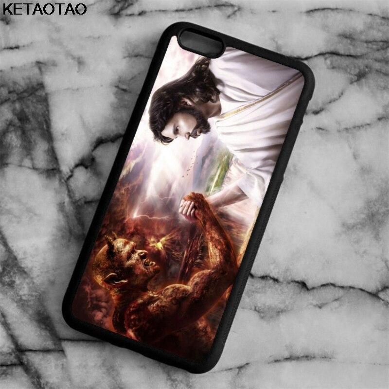 KETAOTAO JESUS CHRIST GOOD VS EVIL SATAN Phone Cases for iPhone 4S 5C 5S 6S 7 8 Plus X for Samsung Case Soft TPU Rubber Silicone