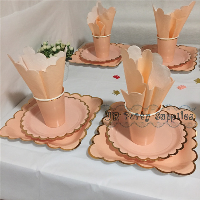 32 Sets Blush Foil Gold Party Paper Tableware Pink Plate Cups Napkins Straws Set