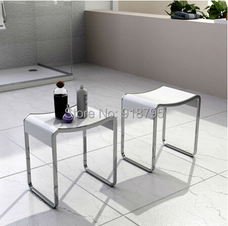 Solid Surface Stone Small Bathroom Step Stool Bench Chair Bathroom Steam  Shower Stools 16 X 12 Inch SW140