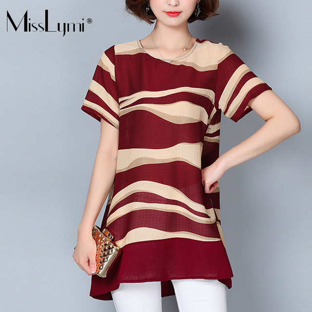 5890a23abed MissLymi L-5XL Plus Size Women s Fashion Shirt 2018 Summer Casual Loose  Striped Printed Tops O-neck Short Sleeve Chiffon Blouse