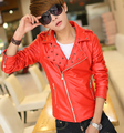 Men's motorcycle leather clothing male short slim stand collar rivet casual leather jacket men coats jackets black red white