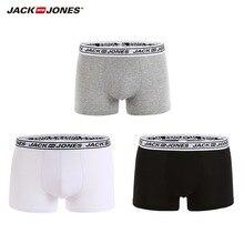 JackJones Men's Elastic Cotton Boxer Shorts Men's Underwear 3-pack Plain Color Homewear Men's 2018 Brand New Arrival 217492502