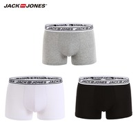 JackJones Men's Elastic Cotton Boxer Shorts Men's Underwear 3 pack Plain Color Homewear Men's 2018 Brand New Arrival 217492502