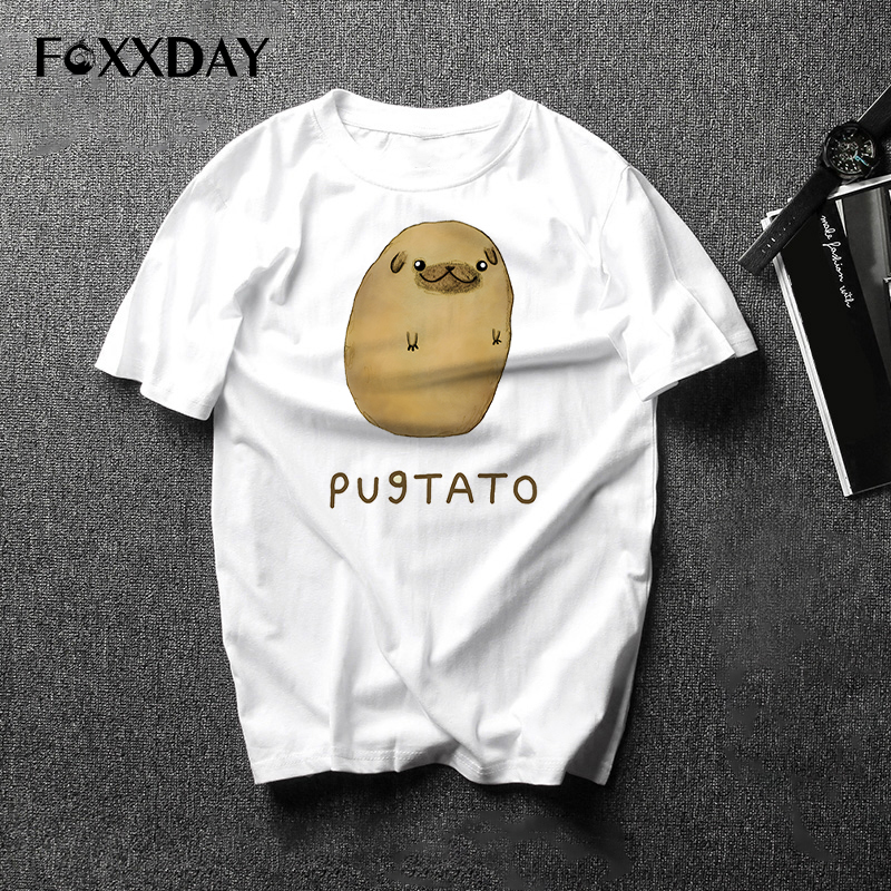 2018 Fashionmen t-shirt Pug Potato T Shirt Funny Cute Dog Tee Harajuku style Casual men's wear short-sleeved tops