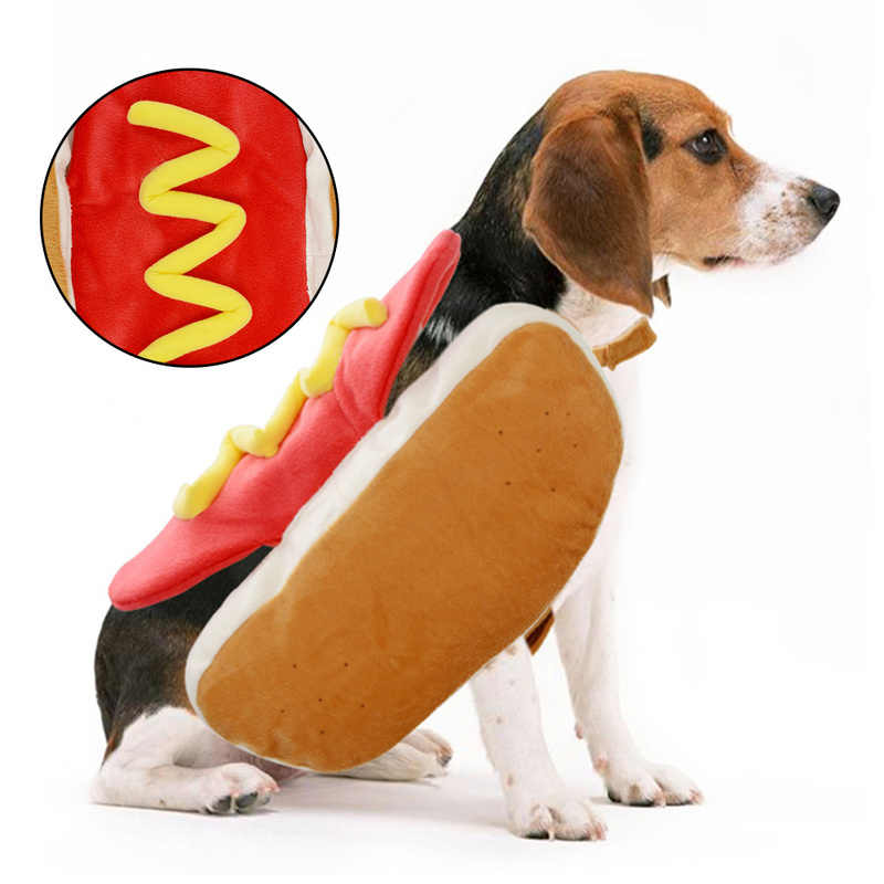 Hot Dog Pets Puppy Halloween Costume Clothes Mustard Cat Clothes Outfit for Small Medium Dog (Please See The Size Chart) Product