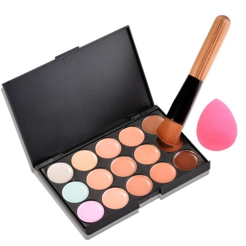 Pro Makeup Kit 15 Color Concealer Palette +Wooden Handle Brush +Puff Face Foundation Bronzer Concealer Powder Contour #P15902