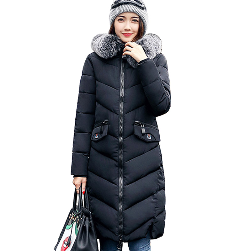 Winter Coat Women 2017 New Fashion Large Fur Collar Hooded Parka ladies Clothing Outwear Long Wadded Jacket Cotton Padded 3L81 winter jacket women parka 2017 new down cotton padded coat fashion solid fur collar hooded long outwear for female parka qw687