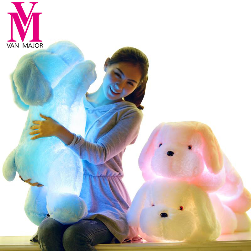 1PCS 50CM/75CM Length Creative Night Light LED Lovely Dog Stuffed And Plush Toys Best Gifts For Kids And Friends fancytrader new style giant plush stuffed kids toys lovely rubber duck 39 100cm yellow rubber duck free shipping ft90122