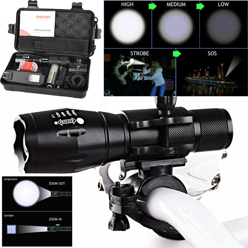 Flashlight+Silicone Torch Lamp X800 XML T6 LED 18650 3.7V 5000 lumens 5Modes Zoom Tactical Military Bicycle Light Waterproof B2