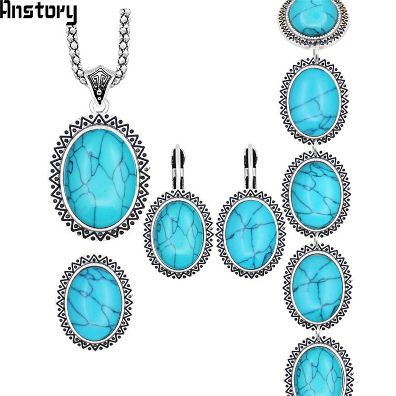 Sunflower Oval Stone Jewelry Sets Necklace Bracelet Earrings Ring For Women Vintage Antique Silver Plated Party Gift TS71 a suit of gorgeous rhinestoned flower necklace bracelet earrings and ring for women