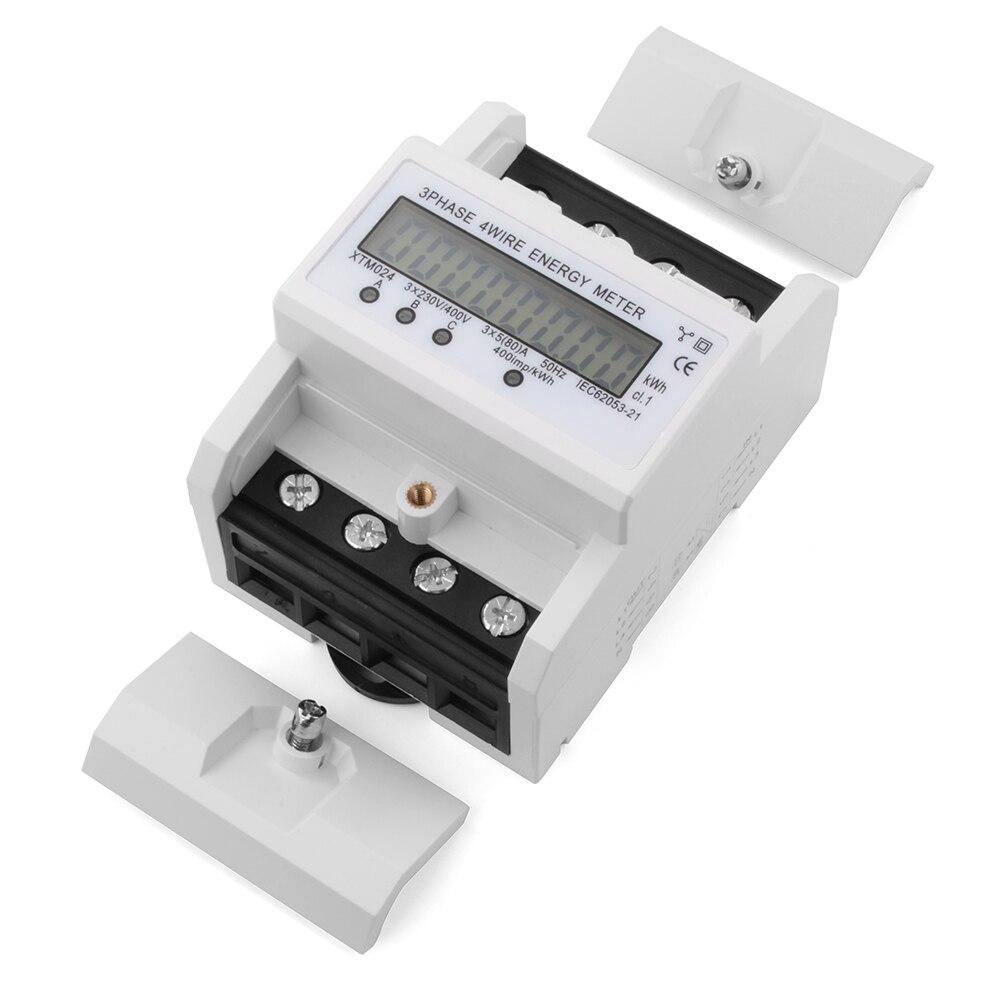 ФОТО 230V LCD 3x5(80A) DIN Rail 3 Phase Kilowatt Hour kWh Electric Energy Meter TE555